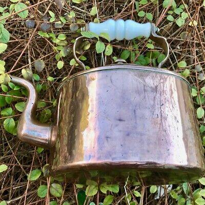 Vintage Flat-sided Copper Kettle, Ceramic Handle