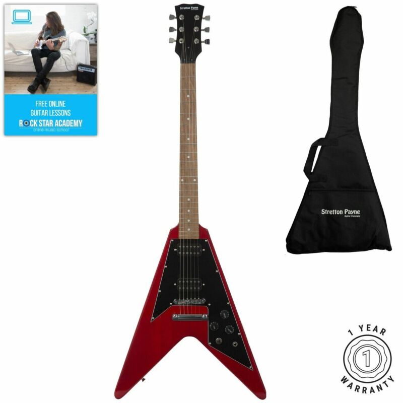 Stretton Payne Flying V Electric Guitar with padded bag. Guitar in Cherry Red
