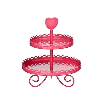 Hot Pink Cake Stand (2 Tier Cake Stand Hot Pink Enamel Heart Shape handle Design)