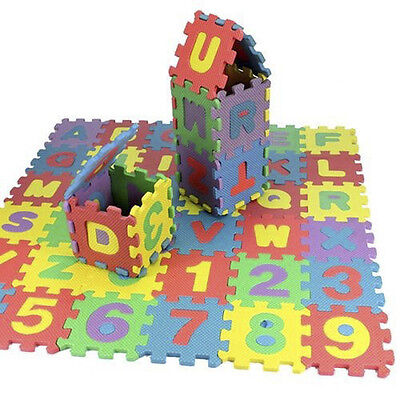 36Pcs Funny Alphabet Play Mat Floor Mat BABY SOFT FOAM Puzzle Letters Numbers US