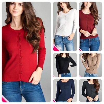 Women Long Sleeve Crew Neck Plus size Cardigan Sweater Knit Top 1X 2X 3X Crew Long Sleeve Cardigan