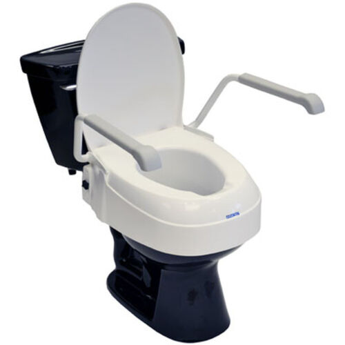 Invacare Adjustable Toilet Seat Raiser with Lid and Armrests - AT900