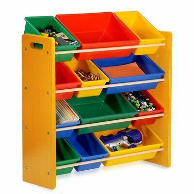 Toy Storage Unit Kids Children Play Organizer Boxes Shelf 4 Tiers Furniture Gift