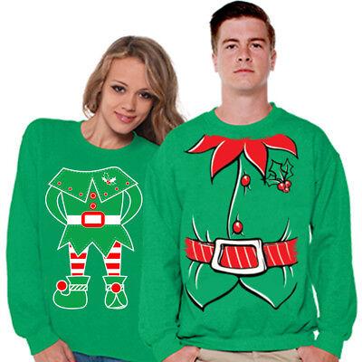 Christmas Couple Elf Sweater Ugly Christmas Sweater for Couples Christmas - Ugly Christmas Sweaters For Couples