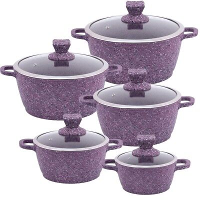 Purple 5pc GRANITE Non Stick Die-Cast Casserole Pan Pot Set INDUCTION Cookware