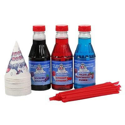 3 Flavor Party Pack Snow Cone Cups Shaved Ice Syrup Ready To Use