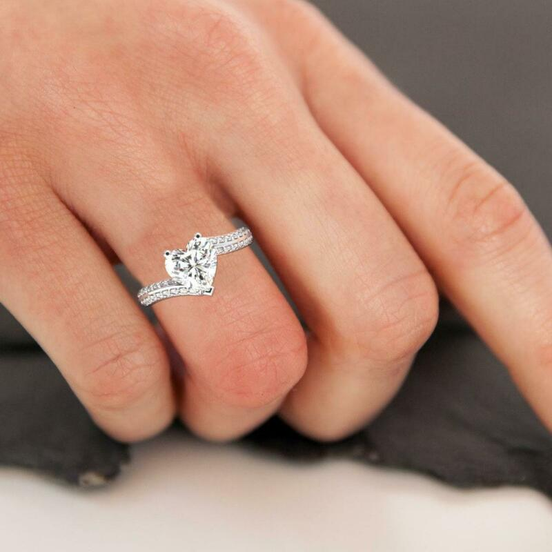 1.00 Carat Diamond Engagement Twist Ring F Si1 14k White Gold Heart Cut