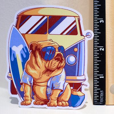 VW Bus Camper Van Vintage Retro Surfing Dog 8x9cm Decal sticker #4254