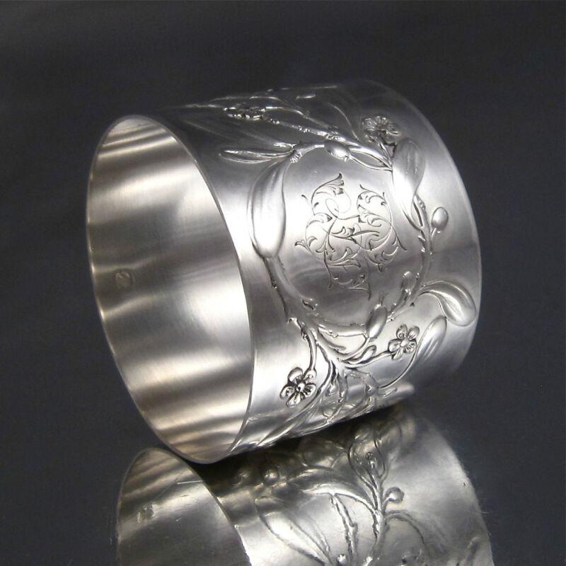 """Antique French Sterling Silver Napkin Ring, """"Mistletoe"""", Albert Deflon, Monogram"""