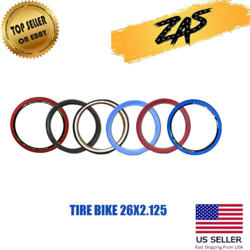 "BICYCLE TIRE 26"" x 2.125 Black, White, Red & Blue High Quality Knobby Tire"