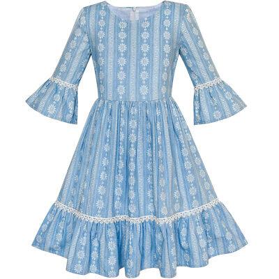 Mädchen Kleid Denim Blau Glocke Ärmel Gekräuselt Rock Ostern Kleid Gr. 104-146 ()