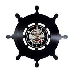 Captain Ship Wheel Vinyl Record Wall Clock Hand wheel navy nautical decor boat