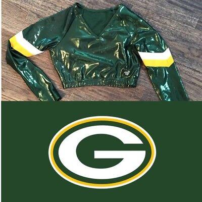 Real Cheerleading Uniform Metallic Crop Top Packers Or -