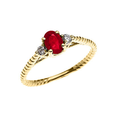 Solid Gold Ruby Solitaire Rope Design Engagement/Promise  Ring