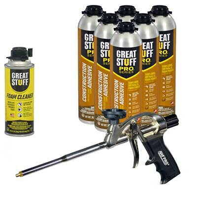 Great Stuff Wall Floor Adhesive 26.5 Oz Gun Foam 6 Cans Cleaner Foam Gun