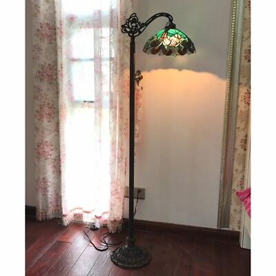 Tiffany Style 1 Bulb Victorian Stained Glass Floor Lamp 13