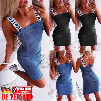 DE Damen Mode Minikleid Zip Jeanskleid Alphabet Trägerkleid Denim