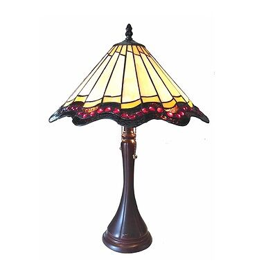 Table Lamp Tiffany Style Stained Glass Baroque 2 Bulb 16