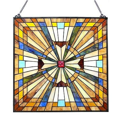 "Stained Glass Tiffany Style Window Panel Mission 24"" x 24"" ~LAST ONE THIS PRICE~"