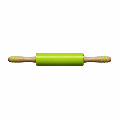 Zing Rolling Pin Lime Green Silicone Rubberwood Non Stick Bread Cake Pastry