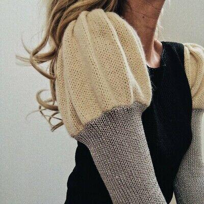 Vintage 80s Style Knitted Puff Shoulder Jumper