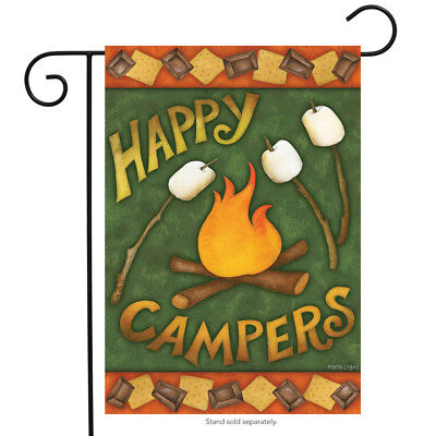 "Happy Campfire Fall Garden Flag Autumn Camping 12.5"" x 18"" Briarwood Lane"