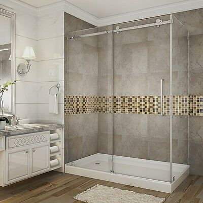 "ASTON Far-reaching Moselle 60"" x 35"" x 75"" Frameless Sliding Shower Enclosure"