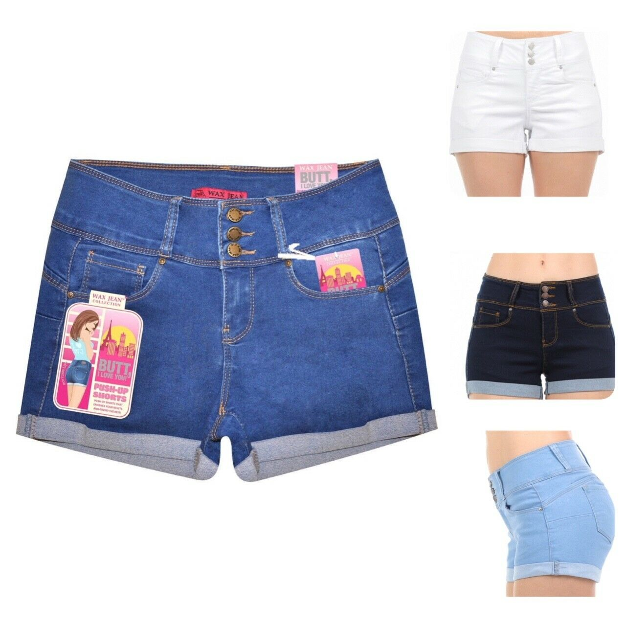 Wax Jeans Women's Juniors Cuffed Hem Denim Shorts