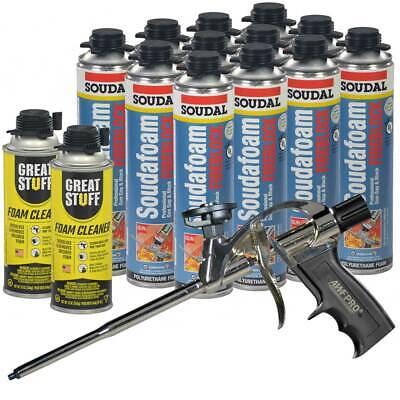 Soudal Fireblock Pro Foam Sealant 24 Oz 12 Pcs Pro Foam Gun 2 Foam Cleaner