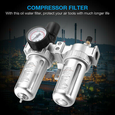 Oil Water Separator Trap Tools G12 Air Compressor Filter W Regulator Gauge Us