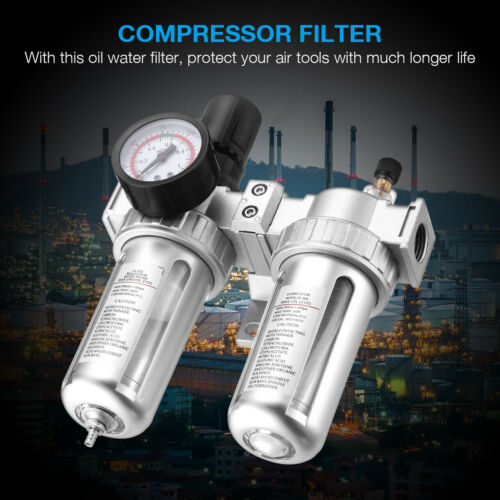 "G1/2"" Air Compressor Filter Oil Water Separator Trap Tools With/ Regulator Gauge"