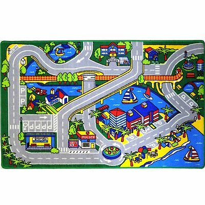 Kids Children Rug City Map (SEAPORT) Play Area Rug 5' x 7' Non-Skid Area Rug
