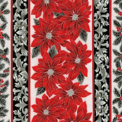 Holiday Flourish 12 Christmas~Poinsettias Stripe Silver with Metallic Cotton -