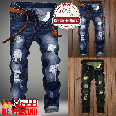 DE HerrenJeans Destroyed Ripped Faded Jeanshose Röhrenjeans Denim Hosen Pants ()