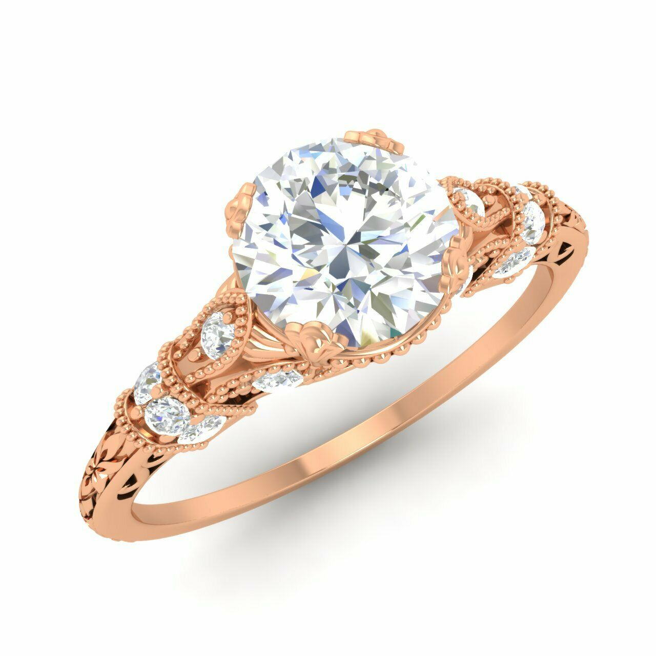 1.11 Ctw Natural Diamond Vintage Filigree Style Engagement Ring 14k Rose Gold