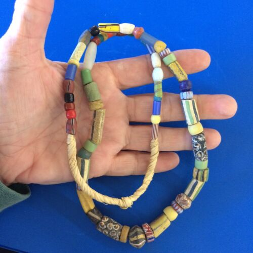 """Antique Mixed Trade Beads Clay Glass African Necklace 22"""" Strand #3 FREE SHIP"""