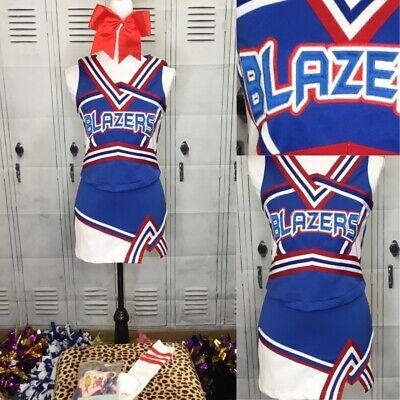 """TROJANS High School Cheerleader Uniform Outfit Choose Sz 30-38/"""" Top 22-27 Skirt"""