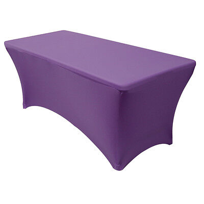 Stretch Spandex Fitted 6 Ft Rectangular Table Cover Purple,S