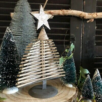Nordic Scandi Style Silver Branch Woodland Table Top Christmas Tree Decoration