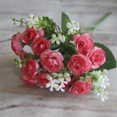 Rose Pretty Charming Cream Artificial Silk Flower Home Party Decal 15Buds DJ8