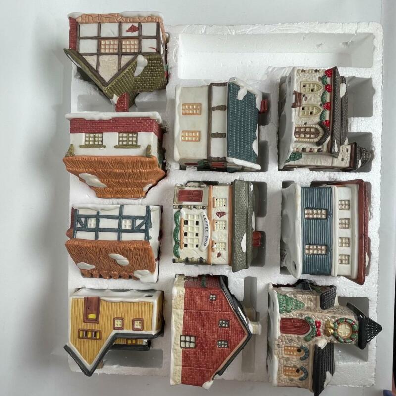 Vintage Santas Best Americana 10 Porcelain Collectible Village Houses NO LIGHTS