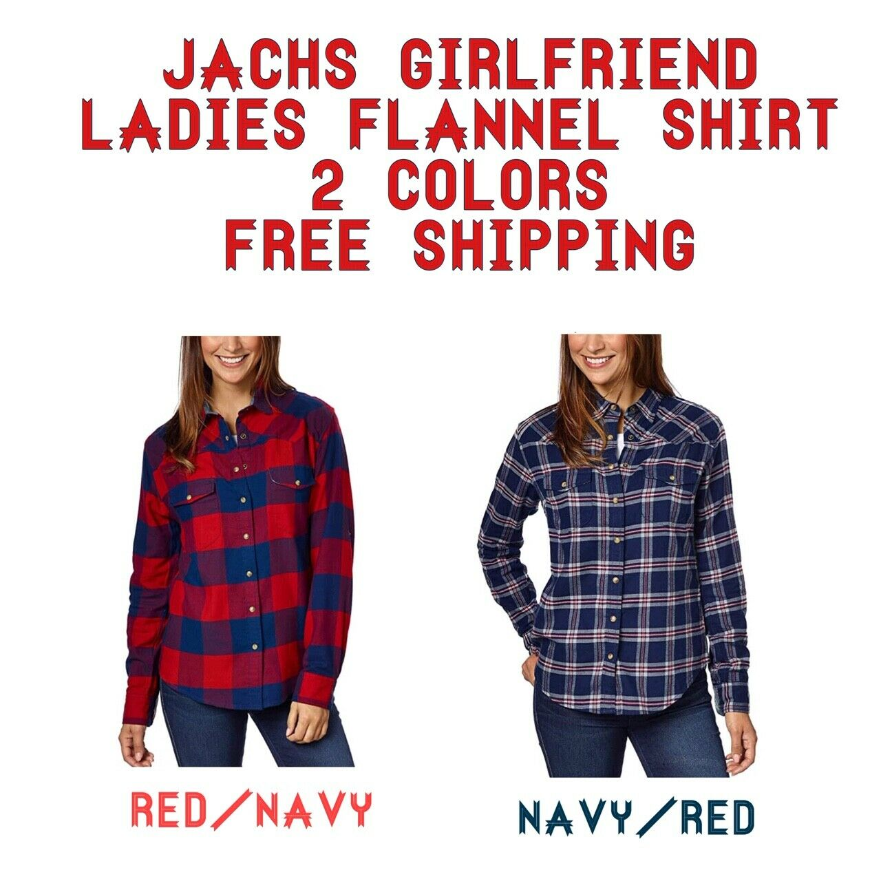 Jachs Girlfriend Flannel Shirt w/ 2 Front Pockets and Roll T