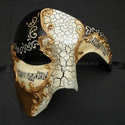 ILOVEMASKS Phantom Full Face Musical Black Gold Masquerade Ball Party Mask - Gold Masquerade Masks