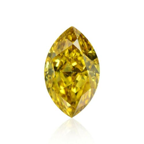 0.26 Carat Fancy Deep Orangy Yellow Loose Diamond Natural Color Marquise GIA