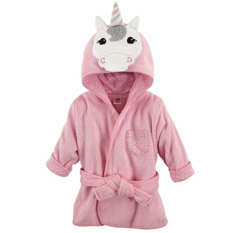 Hudson Baby Girl Animal Face Hooded Bath Robe, Unicorn