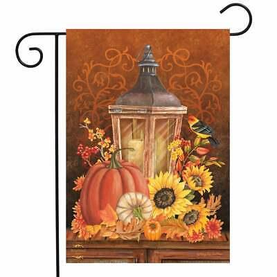 "Fall Lantern Primitive Garden Flag Pumpkins Sunflower 12.5"" x 18"" Briarwood Lane"