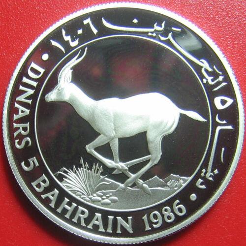 1986 BAHRAIN 5 DINARS SILVER PROOF GAZELLE WWF SUPERB DETAILS! (ISA BIN SALMAN)