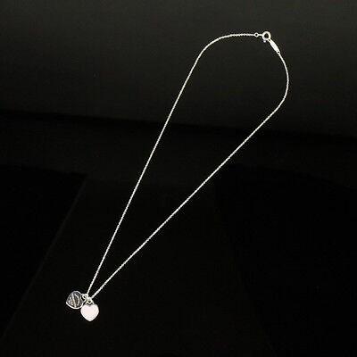 Auth Tiffany & Co. Silver 925 Return to Double Heart Necklace EXCELLENT #8G103