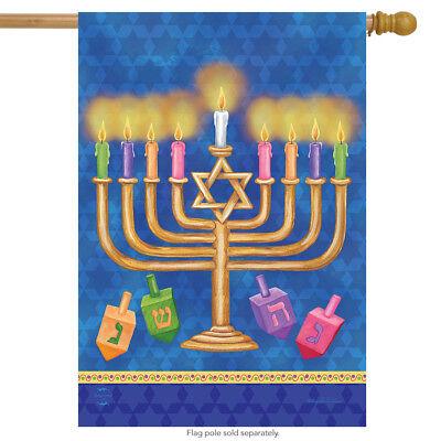 """Happy Hanukkah House Flag Holiday Menorah 28"""" x 40"""" Briarwoo"""