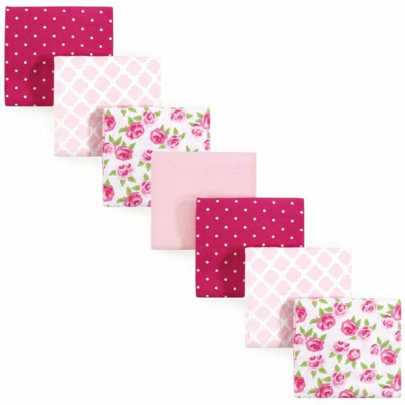 Hudson Baby Girl Flannel Receiving Blanket, 7-Pack, Rose